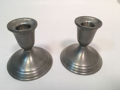 Towle Pewter TWO 2 Candlesticks Candleholders Model 7666B #Towle