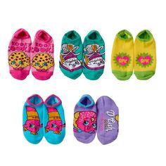 Girls 4-16 Shopkins 5-pk. No-Show Graphic Socks, Girl's, Size: 6-8 1/2, Pink