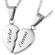 Collier pendentif d'amitié avec gravure laser personnalisée 2 moitiés d'un coeur et 2 chaînes acier inoxydable 45 / 50 cm