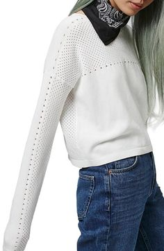 Mixed Pointelle Crop Sweater