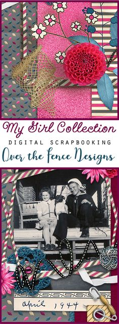"""The scrapbooking collection My Girl is a fun romp into """"girl power"""" with bold and sweet colors and just the right amount of attitude!"""