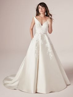 """Rebecca Ingram - VALERIE, Stay true to timeless in a simple Mikado ball gown wedding dress. Then say """"I do"""" to romance in soft lace motifs and a gorgeous neckline."""