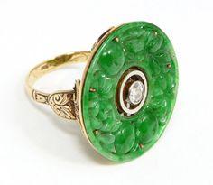 RARE Antique Estate Vintage Diamond Jadeite Jade by SalonClassique, $4299.00