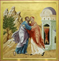 Sts Joachim & Anna - Conception of the Theotokos / Religious Icons, Religious Art, Saint Joachim, Jesus E Maria, Trinidad, Queen Of Heaven, Byzantine Icons, Orthodox Christianity, Catholic Art