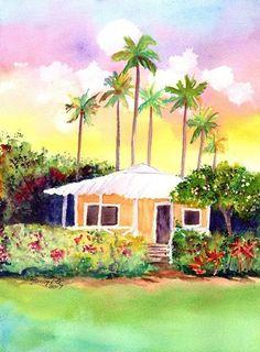 Kauai Aqua Cottage Original Watercolor Painting from Hawaii Hawaiian Marionette Taboniar plantation cottages whimsical tropical art sunset Arches Watercolor Paper, Watercolor Paintings, Watercolors, Beautiful Beach Houses, Yellow Cottage, Garden Wall Art, My Art Studio, Tropical Art, Original Art