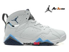half off 6d24b 776bf Chaussure Basket Jordan Prix Pour Femme Enfant Air Jordan 7 Vii Retro GS  Blanc Bleu