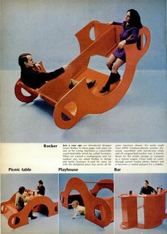 One piece of furniture is a table, playhouse, bar, and multi-person rocker, 1970...