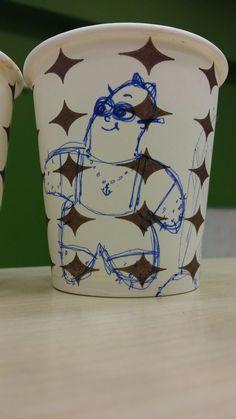 Art on Cups, bardakta çizim,  sevimli deniz yıldızı/ lovely starfish