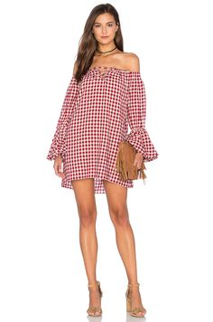 Capulet Shoulderless Long Sleeve Dress in Red Gingham