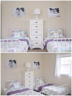 Girls Shared Bedroom | DIY Photo Canvas | DIY Painted Initial Pillows | DIY Pillow Covers | Ikea Minnen Beds | Ikea Malin Rund Bedding
