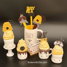 Marshmallow Crafts, Cute Marshmallows, Cream Mugs, Lemon Kitchen Decor, Bee Cakes, Tray Styling, Fake Cake, Cake Supplies, Dollar Tree Crafts