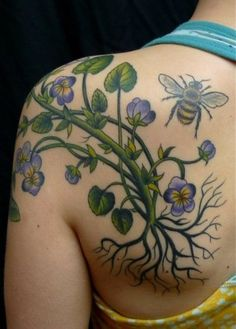 Violets and bee tattoo