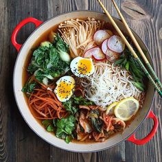 by Judy Kim  Download Recipe Kombu Ramen  Yield: 2 servings  INGREDIENTS  32 ounces low sodium chicken stock (4 cups)  1 cup water   2 pieces dried kombu  ¼ cup soy sauce  1 tsp mirin  1 package ramen noodles  2 6-minute soft boiled eggs  DIRECTIONS    1. In medium p
