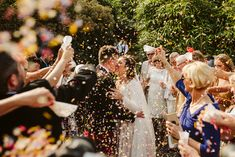Beautiful vibrant confetti exit at an outdoor wedding. Bride and Groom's first kiss inspiration. Elope Wedding, Wedding Bride, Lake Garda Wedding, Portrait Photography, Wedding Photography, Relaxed Wedding, First Kiss, Couples In Love, Positano