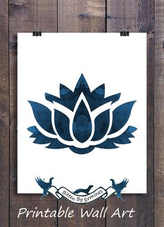 Printable Wall Art - Lotus Flower - Yoga Wall Art - Meditation Wall Art - Dark Blue | Printable | Minimalist | Watercolor Art | Watercolor pictures | Buddhism | Home Decor | Living Room Wall Art | Decor | Bedroom | Decor Ideas #yogainspiration #meditation #flowers #printable #wallart #walldecor #decorate