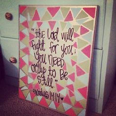 medium exodus 14.14 bible verse canvas by gloriouslyruined on Etsy