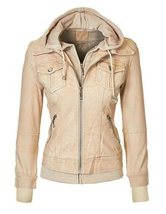 MBJ Womens Faux Leather Jacket with Hoodie -- Check this awesome item by going to the link at the image.