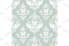 Damask vector floral pattern with arabesque and oriental elements. Seamless abstract traditional ornament for wallpapers and background. Blue and white colors Vignette Design, Arabesque, Vector Pattern, Abstract Backgrounds, Oriental, Blue And White, Tapestry, Graphic Design, Damask Patterns