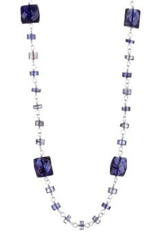 Beaded Square Iolite Necklace