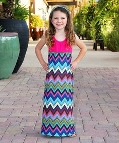 Look at this Mayah Kay Fashion Boutique Pink Chevron Maxi Dress - Toddler on #zulily today!