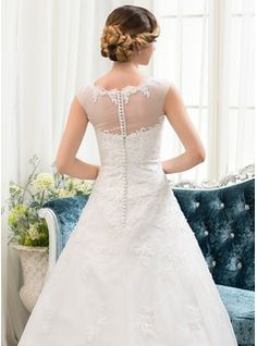 Ball-Gown Scoop Neck Sweep Train Tulle Lace Wedding Dress With Beading Sequins (002054358) - JJsHouse