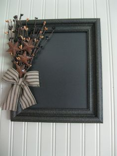 grubbed up picture frame with pip berry pick and homespun bow. Primitive Country Crafts, Primitive Stars, Prim Decor, Primitive Decorations, Decor Crafts, Diy Crafts, Country Treasures, Primitive Furniture, Decorating With Pictures
