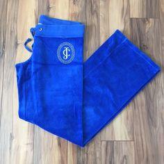 "Juicy Couture Royal Blue Pants Authentic Juicy Couture Royal Blue Pants. Size medium. Excellent condition except for slight peeling of ""JC"" logo on front. Rhinestone ""JC"" on front of pants. Juicy Couture Pants"