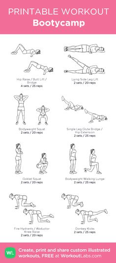 Bootycamp: my visual workout created at WorkoutLabs.com • Click through to customize and download as a FREE PDF! #customworkout
