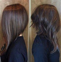 Long Angled Bob Hairstyles, Inverted Bob Haircuts, Long Angled Haircut, Long Aline Haircut, Short Haircuts, Layered Haircuts, Long Bob Haircuts With Layers, Haircut Short, Lob Haircut