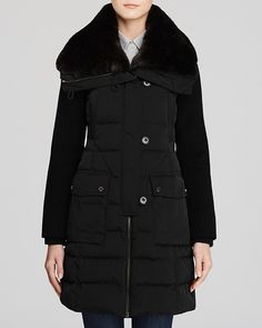 ashley B Quilted Down Coat with Faux Fur Trim