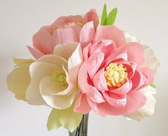 Large handmade crepe paper flower bouquet by 622press on Etsy