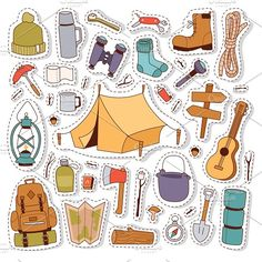 Camping stickers in hand drawn style Graphics Set of camping stickers in hand drawn style: tent, flashlight, match, compass, thermos. Expedition c by Vectorstockerland Printable Images, Printable Stickers, Cute Stickers, Journal Stickers, Scrapbook Stickers, Planner Stickers, Tumblr Stickers, Aesthetic Stickers, Kawaii Drawings