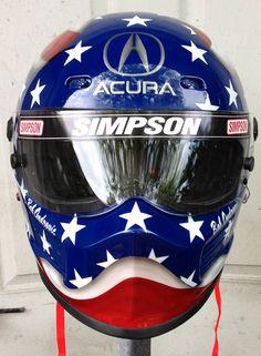 Bell race helmet,Flag design race helmet,custom race helmet design and painting by Don Johnson, airbrushgallery.com