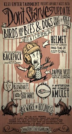 Don't Starve - Wilson - The Birds and the Bees & Dogs That Want to Kill You Art Best Indie Games, Bee Dog, Birds And The Bees, Fanart, Pokemon, Game Dev, Typography Quotes, Geek Out, Game Design