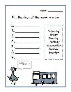 days of the week worksheet printable