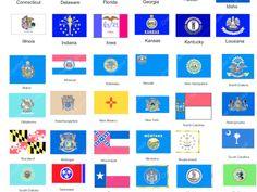Toxcore's creative work - US State Flag Us States Flags, All Us States, Florida Georgia, Delaware, Connecticut, Idaho, Illinois, Montana, Kansas