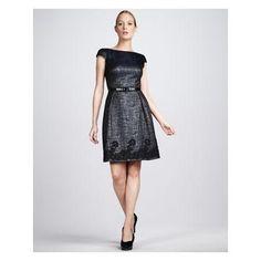 Women's Theia Lace-Hem Cocktail Dress