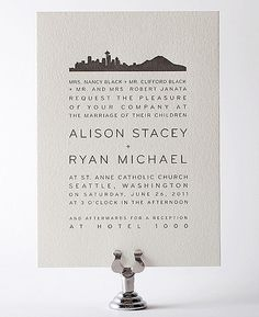 Seattle Skyline Letterpress Wedding Invitation - pretty and modern.