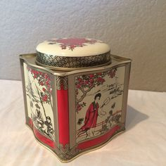 Vintage Red and Gold Asian Tea Empty Tea Tin by KMSCollectibles