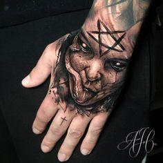 Tigh Tattoo, Tattoo Spirit, Hand Tattoos, Horror, Portrait, Design, Headshot Photography, Portrait Paintings