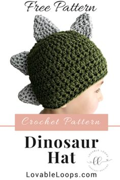 Newest Totally Free Crochet gifts for boys Strategies Free crochet pattern for this super cute dinosaur hat! My pattern is written in US standard terms. Bag Crochet, Crochet Motifs, Crochet Gifts, Crochet Stitches, Easy Crochet Hat, Crochet Baby Beanie, Crocheted Hats, Crochet Ideas, Crochet Toddler Hat
