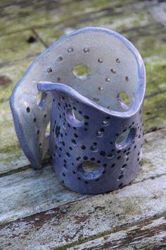 windlicht - #Keramiek #Ceramics Candle Stand, Candle Holders, Clay Fairy House, Ceramic Lantern, Clay Fairies, Wine Glass, Lanterns, Candles, Handmade
