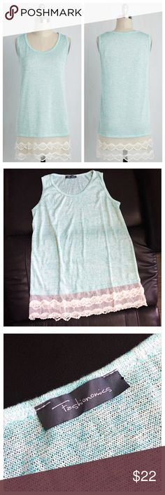 """☁️ NWOT ModCloth """"Icing on the Bake Sale"""" Top ☁️ ☁️ NWOT ModCloth """"Icing on the Bake Sale"""" Sleeveless Top in """"Blue Raspberry"""" (Light Blue) -- Ladies Size Large ☁️ Brand new without tags, never worn/washed, perfect condition ☁️ Super soft, light weight sleeveless sweater in a heathered aqua color -- crew neck with a loose, relaxed fit through the torso -- bottom features a gorgeous cream colored tiered lace hem for a bit of boho chic ☁️ Label brand is Fashionomics ☁️ Please ask any questions…"""