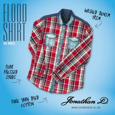 The check trend continued. Jonathan D's Flood Shirt is made from yarn dyed cotton with a washed denim trim and pearl press studs. Red Pear, Washed Denim, Summer 2014, Studs, Pearl, Pure Products, Check, Cotton, Shirts