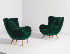 Seating - Carlo Mollino, Pair of armchairs, designed for Acotto House, Turin