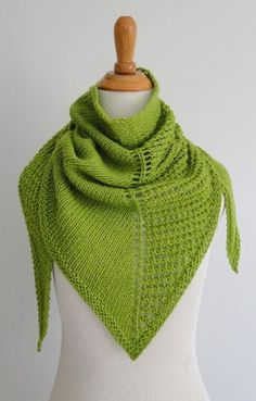 This fast shawl is worked from the top down in two stitch patterns creating an asymmetrical shape and look. One side of the triangle is worked in stockinette stitch while the other side is worked in a simple open work. Knitted Poncho, Knitted Shawls, Crochet Scarves, Knit Or Crochet, Lace Knitting, Crochet Shawl, Summer Knitting, Double Crochet, Shawl Patterns