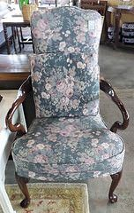 Goose Neck Wood Arm Floral Sitting Chair - Harden Furniture