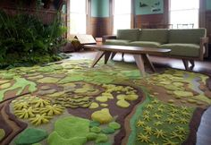 Natural Theme Living Room Idea with Forest Rug by Angela Adams #rug #design