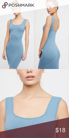 f5672313a0d FREE PEOPLE square neck seamless layering slip Intimately Free People  square neck seamless layering slip in blue. Women s size M L. 92% nylon