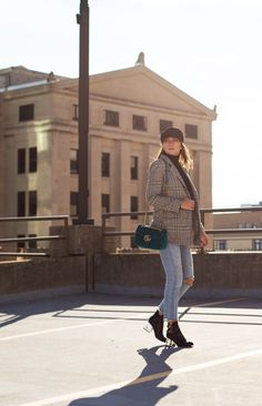 street style outfit with baker boy hat, checked blazer, 501 levis, jeffrey campbell boots and gucci marmont bag